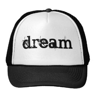 BLACK Grunge Text DREAM Cap