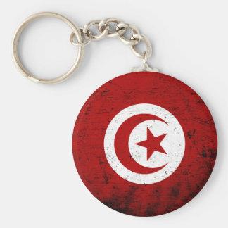 Black Grunge Tunisia Flag Key Ring