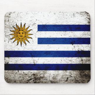 Black Grunge Uruguay Flag Mouse Pads