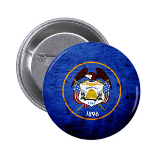 Black Grunge Utah State Flag 6 Cm Round Badge