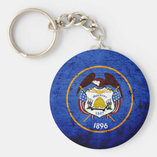 Black Grunge Utah State Flag Basic Round Button Key Ring