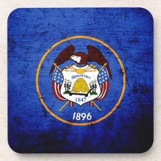 Black Grunge Utah State Flag Beverage Coasters
