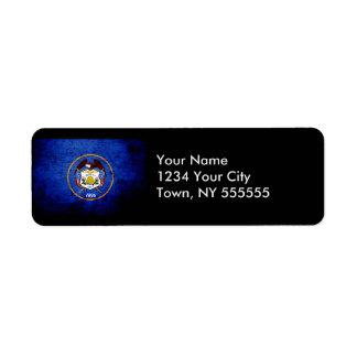 Black Grunge Utah State Flag Return Address Label