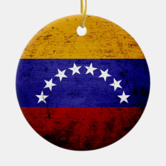 Black Grunge Venezuela Flag Christmas Ornament