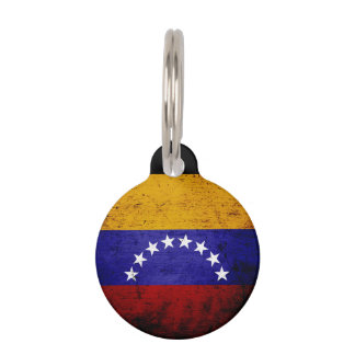 Black Grunge Venezuela Flag Pet Tag