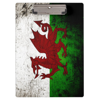 Black Grunge Wales Flag Clipboard