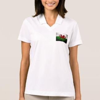 Black Grunge Wales Flag Polo Shirt