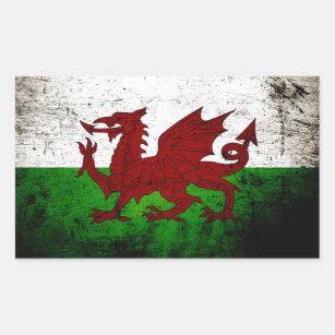 Black Grunge Wales Flag Rectangular Sticker