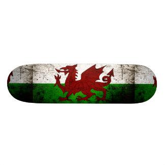 Black Grunge Wales Flag Skate Boards