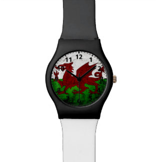 Black Grunge Wales Flag Watch