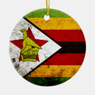 Black Grunge Zimbabwe Flag Christmas Ornament