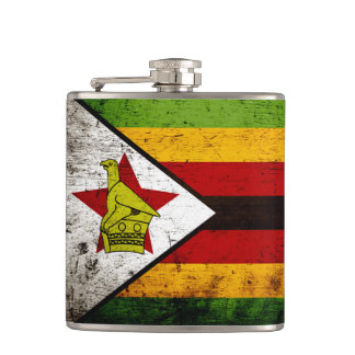 Black Grunge Zimbabwe Flag Hip Flask