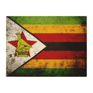 Black Grunge Zimbabwe Flag Wood Print