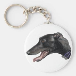 """Black Gryhound"" Dog Art Keychain"