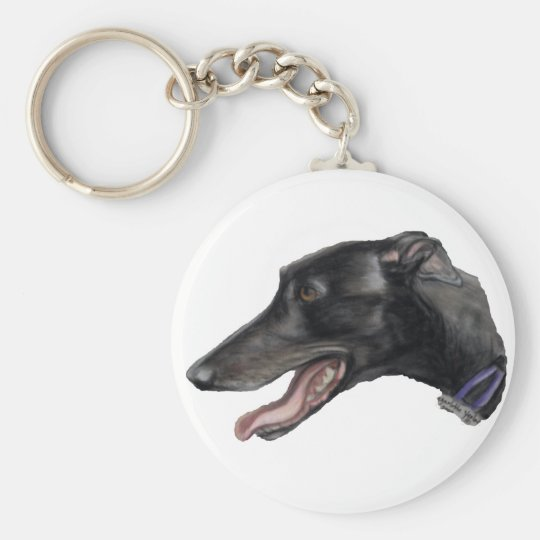 """Black Gryhound"" Dog Art Keychain"