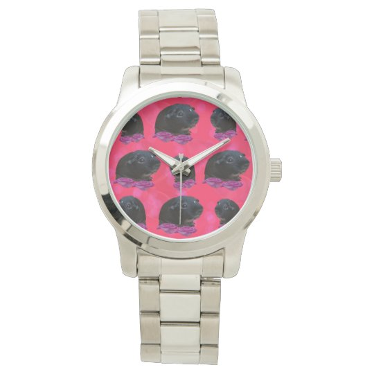 Black Guinea Pigs On Pretty Pink Roses Watch
