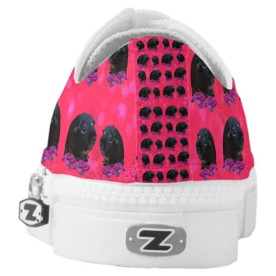 Black Guinea Pigs On Roses, Lowtops Zipz Sneakers.