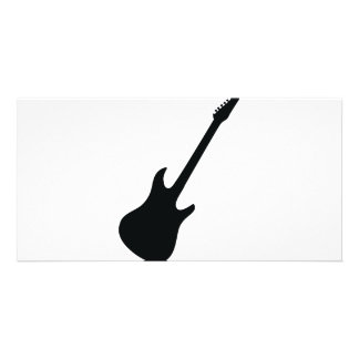 black guitar icon customized photo card