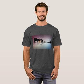 Black Guitar Sunset Water Reflection Gray T Shirt