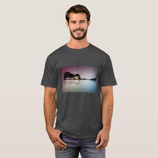 Black Guitar Sunset Water Reflection Grey T Shirt
