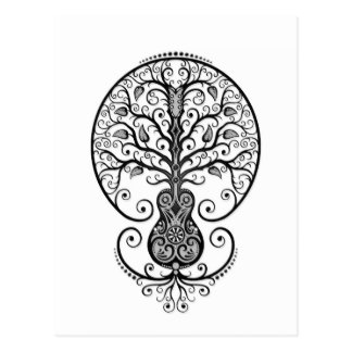 Black Guitar Tree of Life on White Postcards