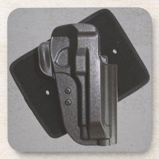 Black Gun Firearm Holster Drink Coaster
