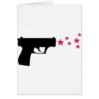 black gun star pistol stars card