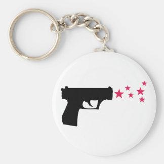 black gun star pistol stars keychain