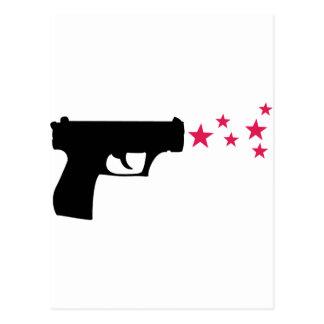 black gun star pistol stars post card