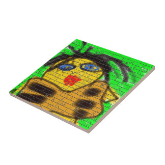 Black Hair Bee Woman Graffiti Wall Painting Green Small Square Tile