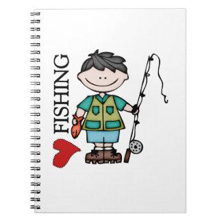 Black Hair Boy I Love Fishing Notebooks