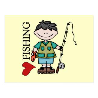 Black Hair Boy I Love Fishing Postcard