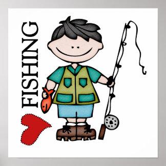 Black Hair Boy I Love Fishing Posters