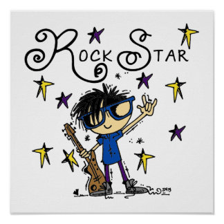 Black Hair Boy Rock Star Poster