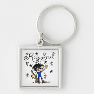 Black Hair Boy Rock Star Silver-Colored Square Key Ring