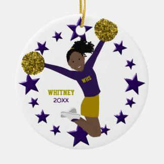 Black Hair Cheerleader In Purple & Gold Round Ceramic Decoration