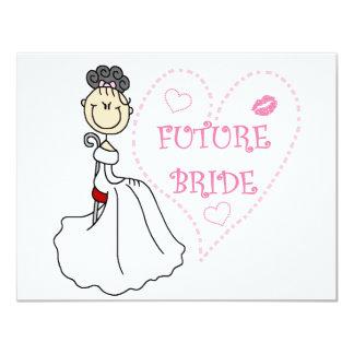 "Black Hair Future Bride Tshirts and Gifts 4.25"" X 5.5"" Invitation Card"