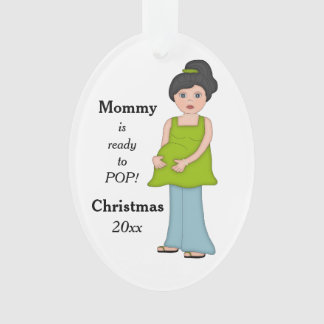 Black Hair Pregnant Mommy Ready to Pop Ornament