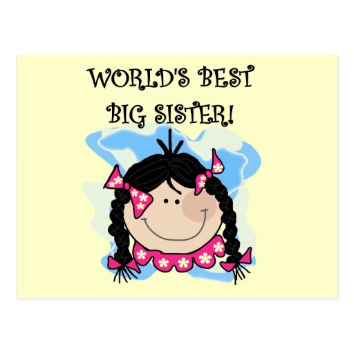 Black Hair World's Best Big Sister Tshirts Post Card