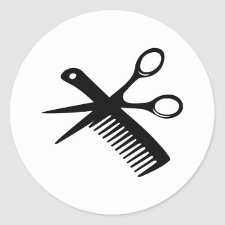 black hairdresser comb scissors classic round sticker