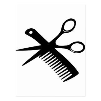 black hairdresser comb scissors post card