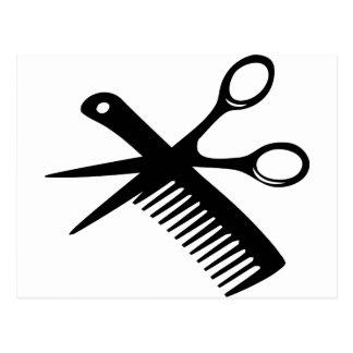black hairdresser comb scissors postcard