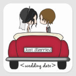 Black Haired Bride and Brunette Groom Square Stickers