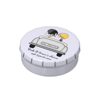 Black Haired Bride Blonde Groom in Grey Car Candy Tin