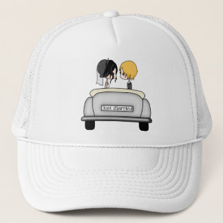 Black Haired Bride & Blonde Groom in Grey Car Trucker Hat