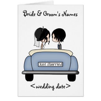 Black Haired Bride & Groom in Blue Wedding Car Card