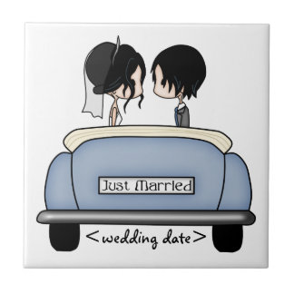 Black Haired Bride & Groom in Blue Wedding Car Small Square Tile