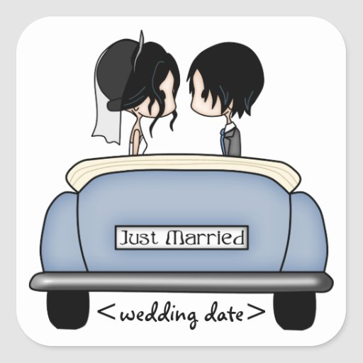 Black Haired Bride & Groom in Blue Wedding Car Square Sticker