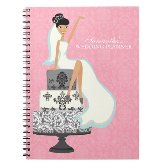 Black Haired Bride on Wedding Cake {pink} Notebook
