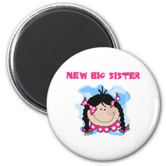 Black Haired Girl New Big Sister 6 Cm Round Magnet